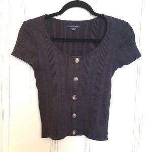 Short sleeve sweater knit button top